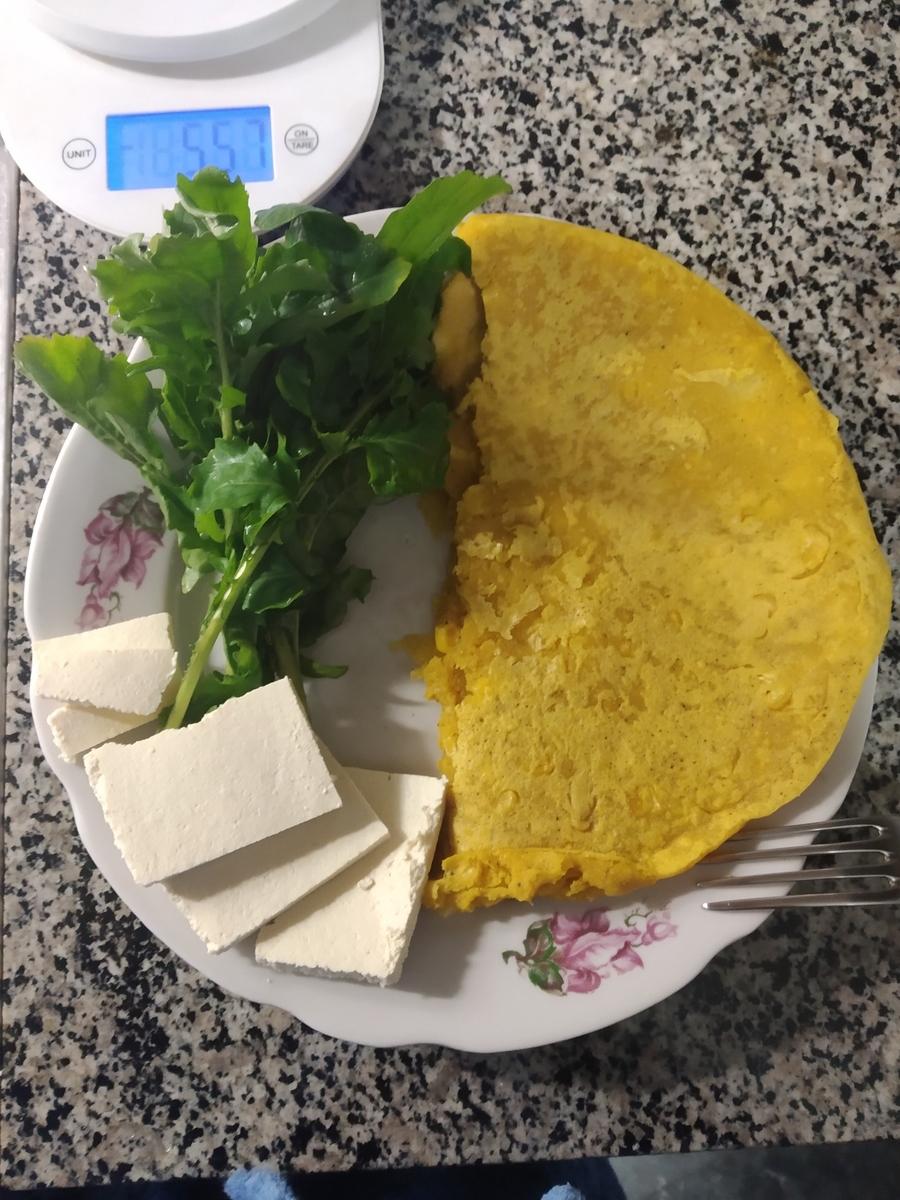 Веганский рецепт Омлет из нутовой муки и кукурузы